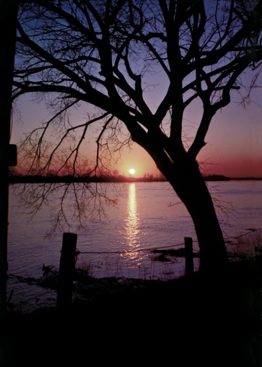 1963 - Ohio River Sunset at Newburgh, IN